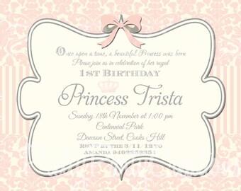 VINTAGE PRINCESS invitation - U PRINT - 2 to choose