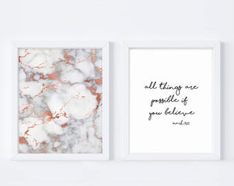 All Things Are Possible If You, Believe, Mark 9:23, Goal Digger, Marble Print, Christian Wall Art, Believed She Could, Printable Art, Gift