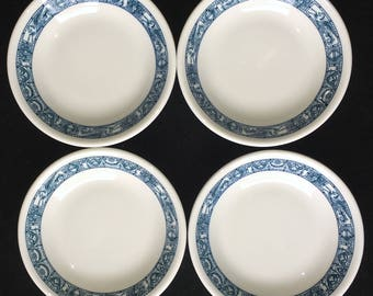 "Shenango Diner Restaurant Hotel China 5"" ""Rowe"" Pattern Fruit/Berry Bowls (Set of Four) Teal Design Unused Condition"