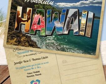 Hawaiian Destination Save the Date Postcard (Maui, Honolulu, Oahu, Hawaii)