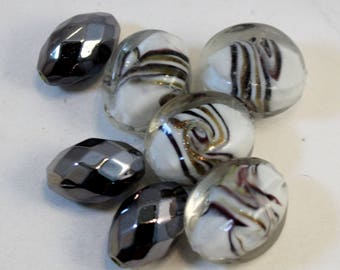Purple, Gold and White Swirl Lampwork Glass Ovals with Silver Acrylic Beads, Lampwork Beads