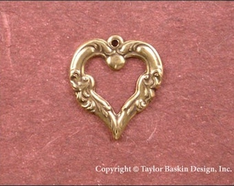Victorian Ornate Heart in Antiqued Polished Brass (item 320-AG) - 6 Pieces