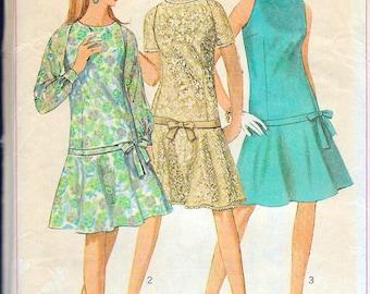 """Vintage 1967 Simplicity 7121 Mod Drop Waistline Dress Sewing Pattern Size 12 Bust 32"""" UNCUT"""