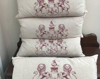 4 Rectangular Pillows with an English Lion Crest