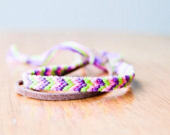 Friendship Bracelet Green, Purple and Pink Chevron Cord Woven Bracelet Embroidery stocking stuffer