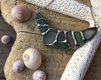 Soldered sea glass necklace. Asymmetric green necklace. Sea glass jewelry necklace.