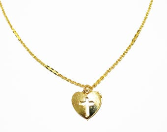 Olympic 16K Choker - Gold Necklace - Gold Chain Choker - Gold Chain Necklace - Gold Choker  - Cross Choker Necklace - Chain Choker - Heart
