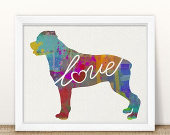 Rottweiler (Rottie) Love - A Colorful, Bright & Whimsical Watercolor Print Home Decor Gift - Can Be Personalized with Name (+ More Breeds)