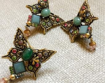 Vintage Butterfly Clip Earrings Brooch Set
