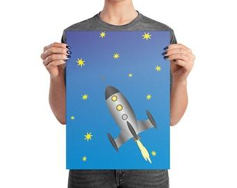 Space Rocket Print, Nursery print, Nursery Wall Art, Nursery Decor, Children's Wall Print, Boy's Bedroom Print, Rocket Ship