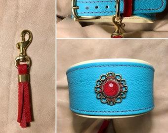 Leather Necklace Atlantic blue, vanilla yellow and Rotaktzenten