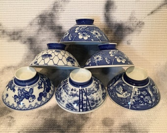 Set of 6 Blue and White Rice Bowls