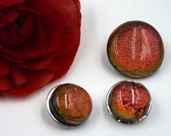 Snap Fused Glass Charms- Burnt orangish red