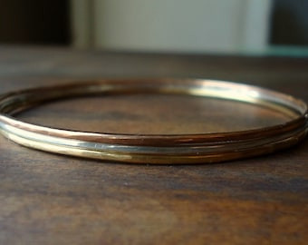 3 Bangles- Thin- Gold Silver Rose Gold- Small