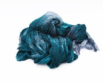 teal silk scarf -  Royal Teal - teal, grey silk scarf.