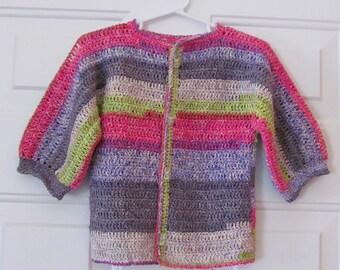 Child's Lightweight Sweater, Childs Multi-colored Sweater, Girls Spring & Summer Sweater, Spring Sweater, Summer Sweater