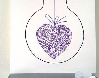 """Poster Illustration bulb """"My heart is yours"""""""