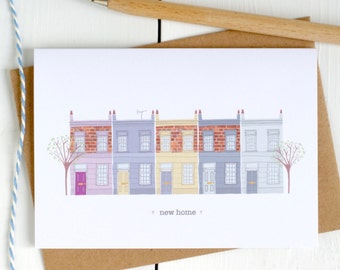New Home Illustrated Card - New Home Card - Illustrated New Home Card - Housewarming Card - New House Card - Home Sweet Home Card - New Home