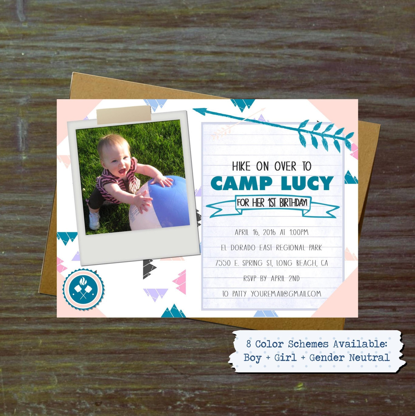 Hike on Over Camping Birthday Invitations Hip Girl Boy