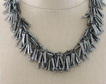 Statement Necklace - Tassel Necklace - Gun Metal Necklace - Dark Silver Necklace - Bar Necklace - Boho Necklace