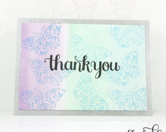 Thank You Cards, Watercolor Cards, Butterflies, Handmade Greeting Card