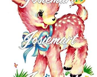 Vintage Digital Download Pink Deer Kawaii Vintage Image Collage Large JPG