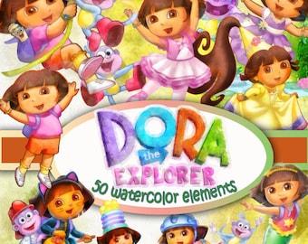 Dora the Explorer cliprt 300 dpi watercolor Digital Clip Art Instant Download Graphics transparent background Scrapbook birthday