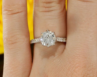 14k White Gold Solitaire Diamond Engagement Ring with 7mm Forever Brilliant Moissanite (F1, NEO, Hearts and Arrows and Supernova available)