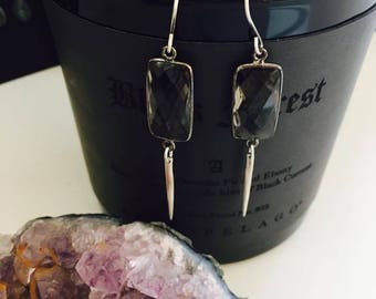 Luxe Gift Set - Smokey Quartz and Sterling Earrings with Black Forest Candle