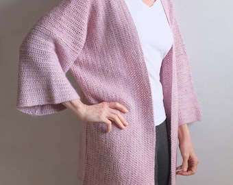 LOTUS - Vessa Cardigan - Handmade Crochet - Rose Pink Purple - Alpaca Linen Silk Blend - Hand Dyed - Fits most regular sizes