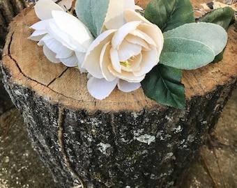 Cream and Sage Faux Flower Wedding Crown, Grapevine Flower Crown, Artificial Flower Crown