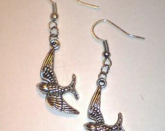 Free as a Bird Earrings , Seagull Earrings , Flying Bird Earrings , Swallow Earrings , Silver Earrings , Handmade Jewelry