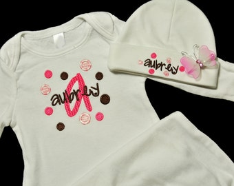 Baby Girl Personalized Polka Dot Newborn Gown and Beanie Hat Set with Butterfly