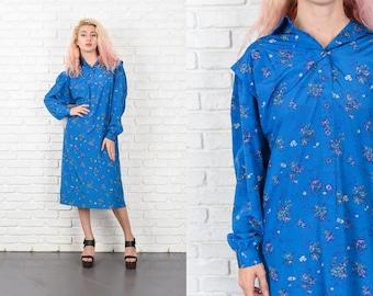 Vintage 80s Blue Shift Dress Floral Print Purple Midi ShirtDress XL 10530