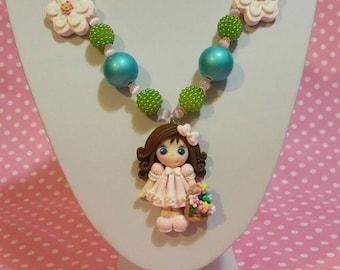 Flower girl basket girls chunky necklace clay pendant necklace flower basket necklace girls bubblegum necklace pink glitter dress flower nec
