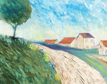 House painting on canvas / Landscape Oil Painting / Impressionist Landscape Painting / realtor housewarming gift