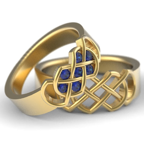 Celtic Sapphire Wedding Band Set With Infinity Knot Design in 10K 14K 18K Gold, Palladium or Platinum Made in Your Size 771 770