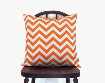 Orange and White Chevron Pillow Case | Zig Zag Cushion Cover | 18x18 Goemetric Decorative Throw Pillows | Mid Century Mdedern Decor