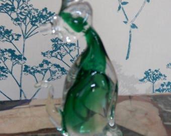 Cat Figurine  - Murano Glass - Venetian Art Glass -  Vintage - Green White