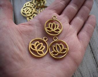 Gold Lotus Charm - Metal Charm Flower Pendant  - Framed Lotus Boho Ethnic Charm - New pack of 15