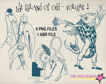 The Island of Odd - Whimsical Vintage Creatures - Photoshop Brushes - PNG Overlays - Digital Stamps - 6 Images and ABR File - Quirky - Fun