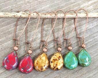 Boho Earrings Dangle, Long Dangle Earrings, Boho Dangle Drop Earrings, Boho Jewelry Earrings, Red Yellow Turquoise Jewelry, Copper Earrings