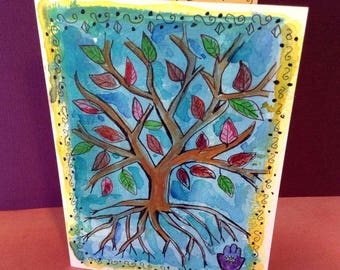 Tree of Life Card, Hand Painted Card, Tree Art, Tree of Life Painting, Jewish Cards, Handmade Card, Original Painting, Hamsah Hand Evil Eye