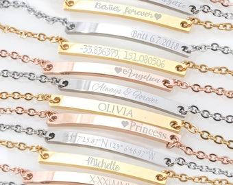 Custom Skinny Bar Bracelet Location Bracelet Latitude Longitude Bracelet Coordinates Bracelet Anniversary Gift Idea Unique Personalized Gift