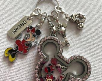 Minnie Stainless Steel Crystal Memory Living Floating Charm Locket