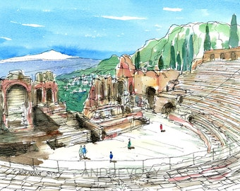 Taormina  Sicily  Italy  art print from an original watercolor painting