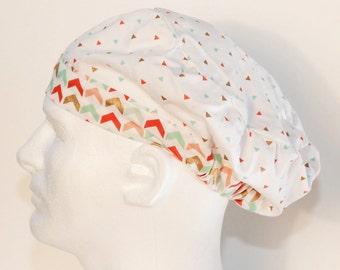 Pastel Chevron Style Scrub Cap - European Surgical Cap-Scrub Hat- Surgical Cap - Nurses Scrub Cap-European Scrub Hat