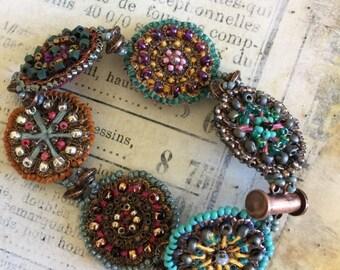 Half Price One week sale Beaded Copper Medallions Bracelet