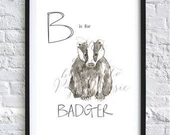 B Is For Badger Animal Alphabet Hand-Painted Watercolour Print Children's Bedroom Decor