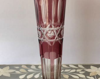 Vintage Bohemian Soviet Union Cut Crystal Faceted Purple Flower Vase